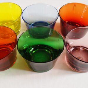 Juego 6 boles cristal soplado colores
