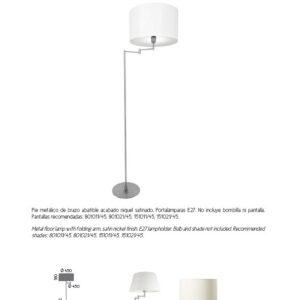 Lámpara suelo nikel c/pantalla redonda