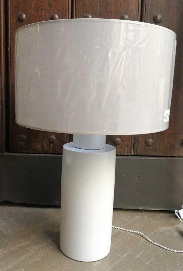 Lámpara mesa cerámica recta c/pantalla redonda
